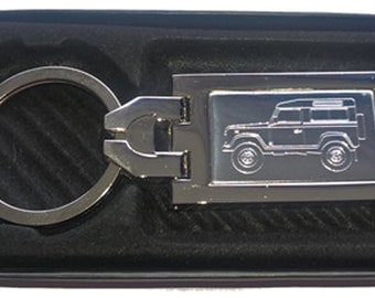 Land Rover Defender 90 Engraved Keyring, Chrome with Engraved Stainless Steel Insert