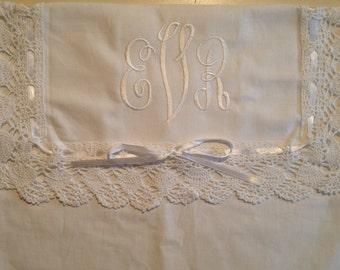 Monogrammed Linen Lingerie Bag  Wedding LDS packet LDS envelope