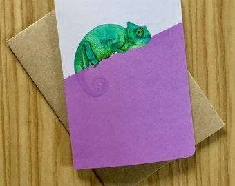 Chameleon Greeting Card - Animal Illustration - Blank Card - Collectable Illustrations - Quirky Card