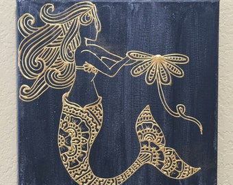 """Black and Gold Mermaid Painting, Henna Style, Mehndi Style, Henna Painting, Mehndi Painting (12""""x12"""")"""
