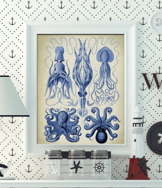 Blue Print Wall Decor : Blue octopus poster squid print cuttlefish wall decor