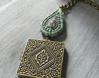 Tibetan Golden Locket Necklace