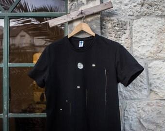Original art photography T-shirt // Designed T-shirt // Black T-Shirt // Streetlight Moon