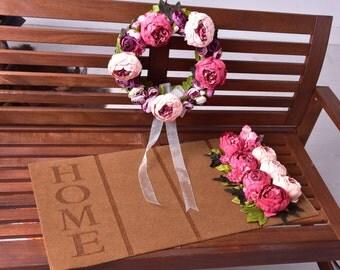 Pink Roses Door Wreath & Mat Set