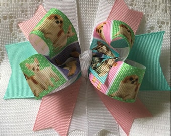 Dog Bow, Dog Lover, Pink Bow, Boutique Bow, Green Bow, White Bow, Stacked Bow, Girl Bows, Hair Bows, Bows for Girls, Girl Gifts