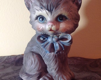 Vintage Lefton Gray Kitten Bank with original rubber stopper and origin sticker