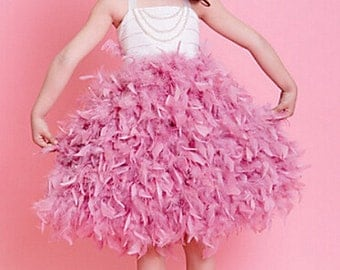 Feather Flower Girl Dress, Bridesmaid Dress, Birthday Dress, Party Dress, Wedding Flower Girl Dress, Christening Dress, Light pink feather