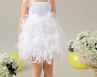 White Feather Dress,Flower Girl Feather Dress, Bridesmaid Dress, Birthday Dress,  Party Dress, Wedding Flower Girl Dress, Christening Dress