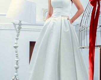 princess wedding dress traditional sleeveless bridal gown pocket dress floral belt wedding gown satin maxi skirt dress scoop neck Anna5