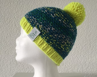 Beanie Hat neon yellow turquoise Grün Weiß Bobble - knitted