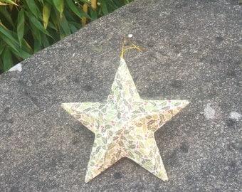 Holly Print Decoupage Christmas Decoration Star
