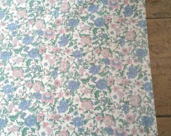 """Pair of Lined Romantic Floral Heavyweight Rectangular Curtains. Thick Cotton Curtains.  Large Window Curtains. 64 x 42""""."""