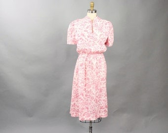 80s does 40s pink rose dress . full skirt dress . 1980s pastel flower print dress . small medium . sale dress
