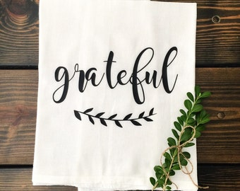 Grateful Tea Towel Flour Sack Farmhouse Autumn Fall Kitchen Cottage Shabby Chic Thanksgiving