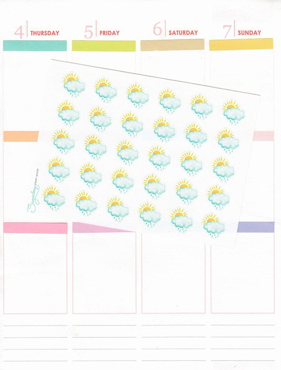 30 scattered showers, sun ,cloud, classic, watercolor style, hand drawn, weather icons, weather trackers, planner stickers, S1WEA20