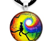 Black Cat Necklace Chakra Pendant Silhouette Rainbow Moon Cat in Tree Wiccan Handmade Meditation Boho Pagan Bohemian Jewelry Colorful Art