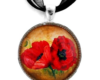 Two Red Poppies Jewelry Handmade Pendant Necklace Tuscany Scarlet Flowers Gift for Her Gardener Boho Bohemian Gypsy Impressionist Art Floral