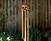 Wind Chime Large Beach Stone and Copper Outdoor Windchimes