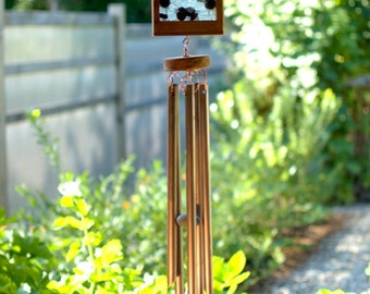 Wind Chime Frosty White Sea Glass Beach Stones with Large Copper Chimes
