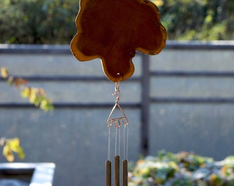 Wind Chimes Natural Pacific Wood Section with Brass Chimes