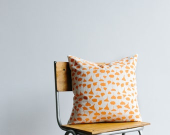 Screen printed cushion cover 'Trees and Leaves' - peach ink on hemp/organic cotton fabric.