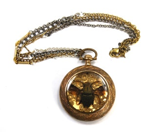 KAFKA CLOCK Steampunk BEE Necklace with Genuine Insect Antique Victorian Rolled Gold Pocket Watch Case and Victorian Tatted Lace Crazy Chain