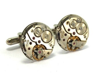 Steampunk Cufflinks Featuring ROUND Vintage Watch Movements by Nouveau Motley