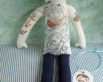Custom made Jaunty Sailor OOAK Tattooed Embroidered doll