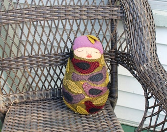 Swaddled Baby Folk Art Bird wool doll