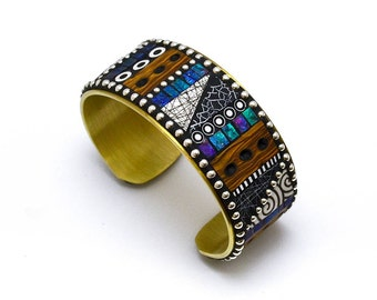 Mosaic Brass Cuff Bracelet with blue, green, purple iridescent polymer clay inlay, Sterling Silver beads black and white patterns