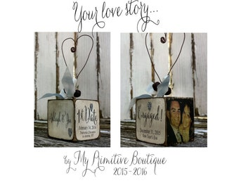 ENGAGED ORNAMENT | Personalized Ornament | Photo Ornament |  Love Story Ornament | Our First Christmas Engaged | He Asked and She said Yes