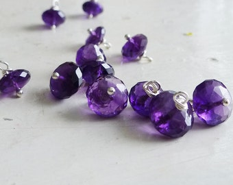 Add a Charm - Faceted Royal Amethyst Rondel 8-9mm Gemstone Accent