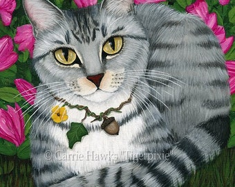 Cat Portrait Tabby Cat Art Silver Tabby Cat Painting Garden Azalea Flowers Pet Portrait Cat Art Print 8x10 Cat Lovers Art