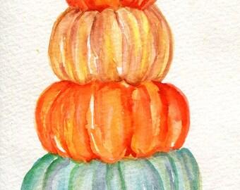 Pumpkins watercolors paintings original, kitchen decor,  Original artwork 4 x 6 watercolor original painting, Stack o' pumpkins painting