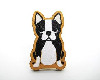 Boston Terrier Wooden Brooch Pin