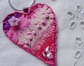 Pink Heart Silk Pendant with Rose and Rose Alabaster Crystals