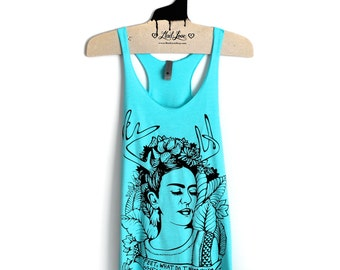 M- Tri-Blend Light Blue Racerback Tank with Frida Screen Print