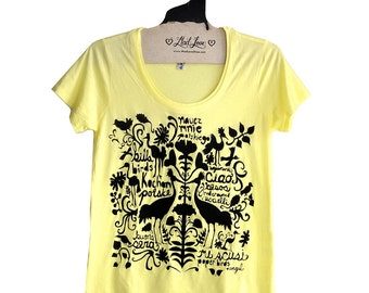 M,L - Yellow Super Soft Scoop Neck Tee with Folk Art Design