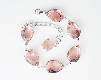 Pale Peach Rhinestone Bracelet Peach Wedding Bridesmaid Jewelry