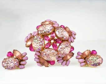 Vintage Pink Peach Rhinestone Lava Glass Stone Brooch Pin & Earrings Demi Parure Jewelry