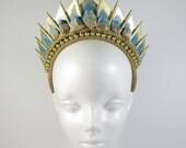 Blue Apatite Golden Blade - Headpiece - by Loschy Designs