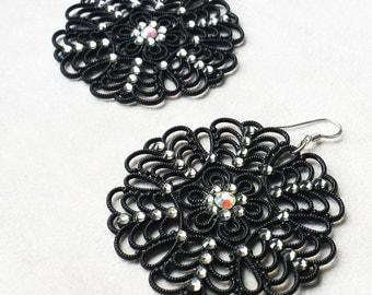 Swarovski statement earrings, Vintage Lucite Filigree, guft for Mother's day, Large Black Boho Chic earrings, Gift for Her, Anniversary gift