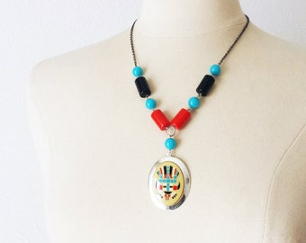 Turquoise Red Black Silver necklace, Vintage Navajo Necklace, Boho beaded necklace, Tribal statement necklace, Anniversary gift for her