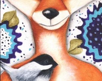 Fox Bird Chickadee Flowers Original art by Deb Harvey Wildlife, forest creature, Whimsical, gift, painting, animals,
