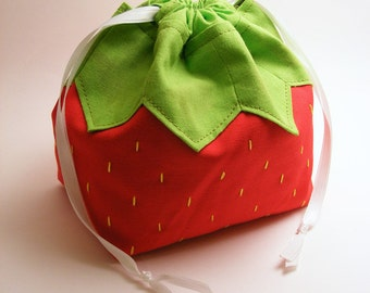 A Strawberry Named Pouchy - Drawstring pouch, omiyage, fruit, japanese, purse, food