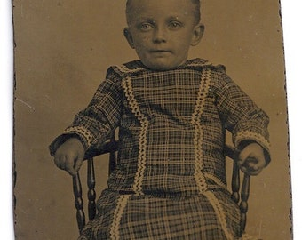 Hold on! Boy tintype plaid dress boots antique photo