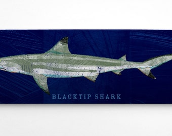 Fish Gifts for Husband- Shark Wall Decor- Blacktip Shark Art Block- Navy Background- Beach Theme Bedroom- Fish Art- Blacktip Shark Print