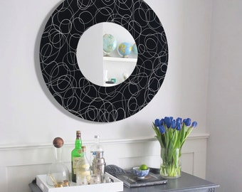 Round Black & Silver Contemporary Circle Mirror, Modern Hanging Mirror Accent, Decorative Metal Wall Art Sculpture - Mirror 121 by Jon Allen