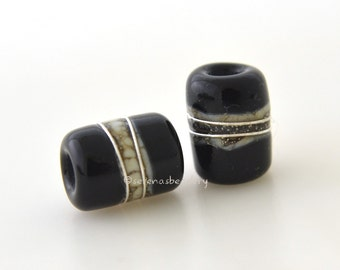 Lampwork Glass Bead ALL BLACK MINI Night Owl Tube Earring Pair - taneres silvered ivory and fine silver wrap 10x7 mm