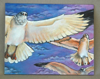 "Seagulls' Flight Original Acrylic Painting 8"" x 10"""